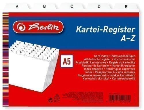 Herlitz A5 A-Z Guide Card/ Index Cards Register – White