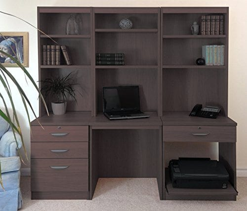 Home Office Furniture Uk Computer Table Desk With Shelf Hutch Bookcase Set Wood Walnut Wood