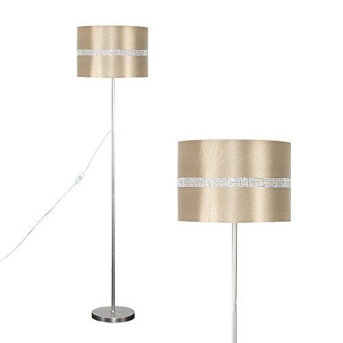 Modern Standard Floor Lamp In A Brushed Chrome Finish With